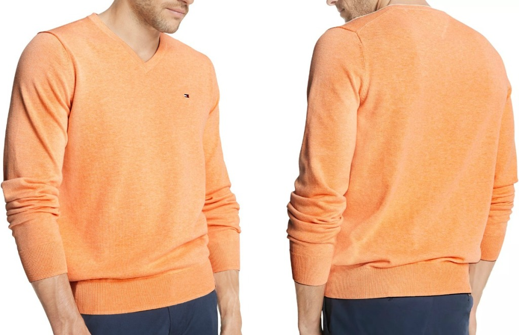 Man wearing an orange sweater - front and back view