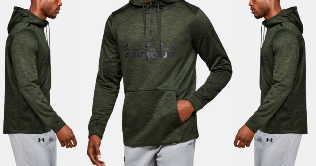 Men's Under Armour Fleece zip up Green (1)