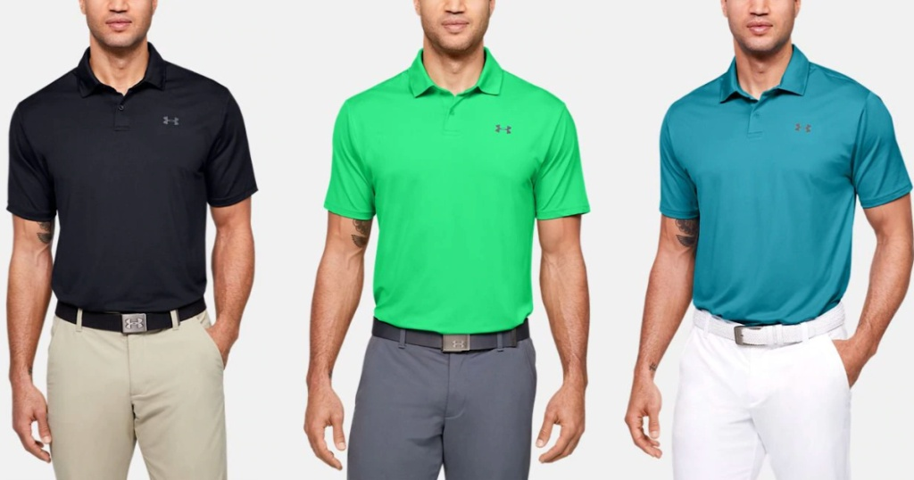 black, green, and blue Men's Under Armour Polos