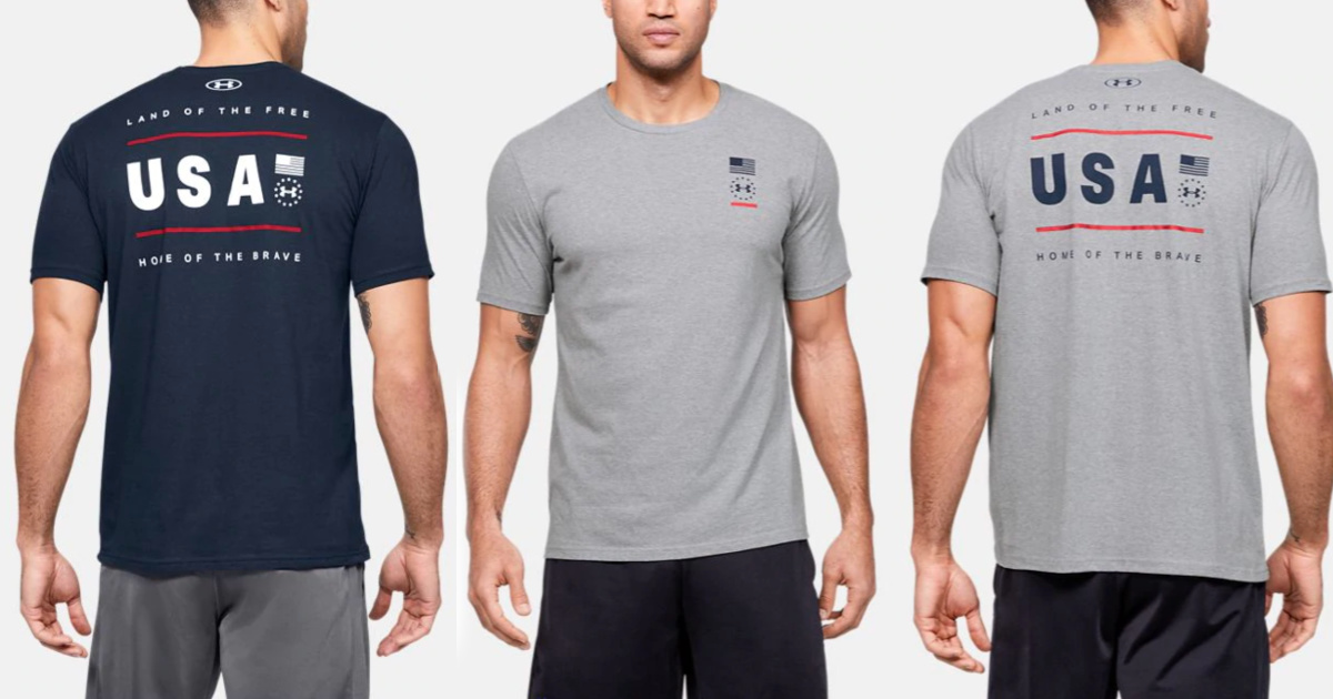 grey and blue mens under armour usa shirt front and back