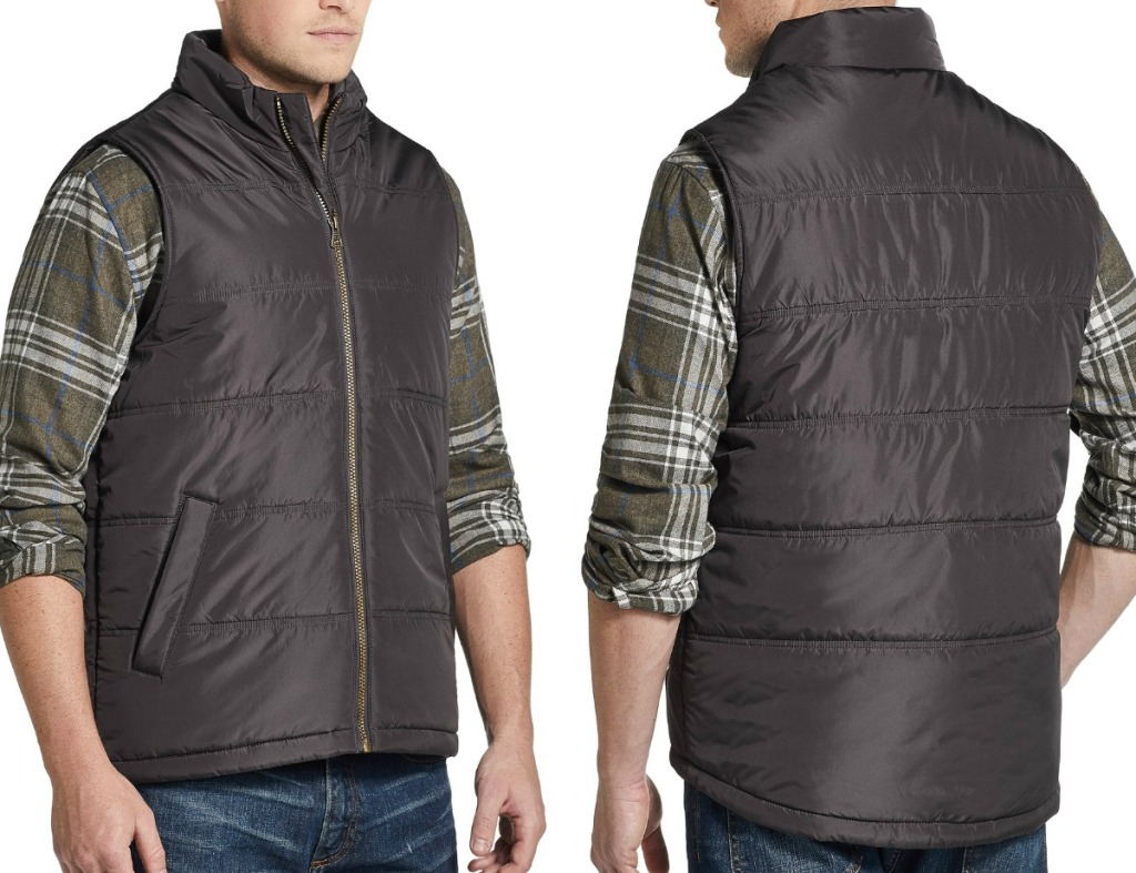 Two angles of men wearing a brown vest