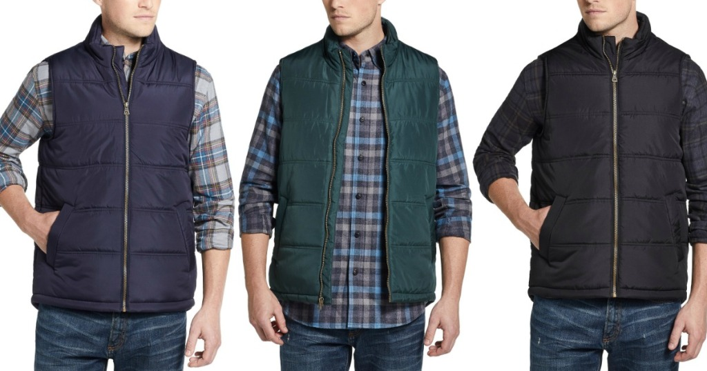Men wearing three styles of men's vest in blue black and green