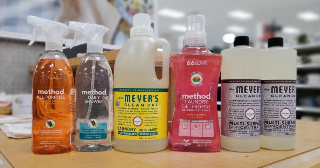 Method and Mrs. Meyer's cleaning products on a table at Target