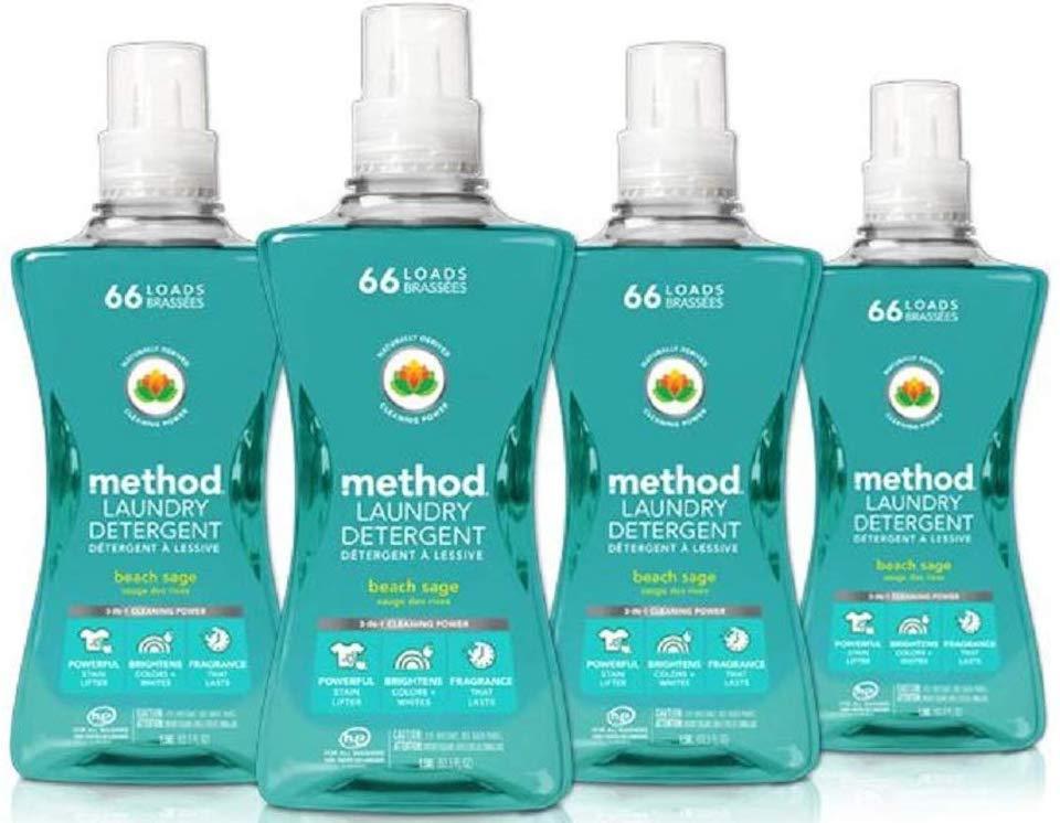 four bottles of Method laundry detergent