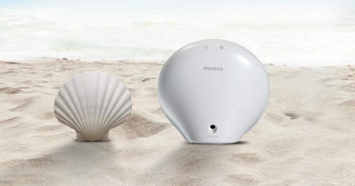 white light box next to seashell on sandy beach