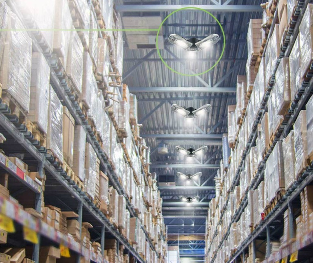 led light fixtures in a warehouse