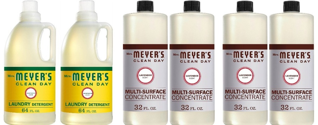 six bottles of Mrs. Meyer's cleaning products