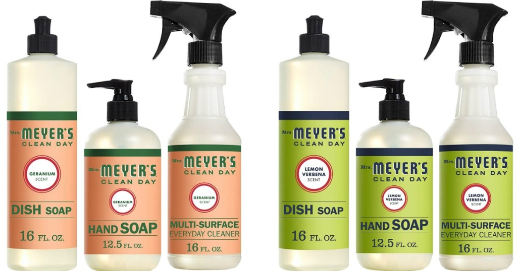 Mrs. Meyer's cleaning products in a row
