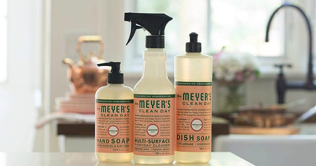 Mrs Meyers products sitting on a kitchen counter