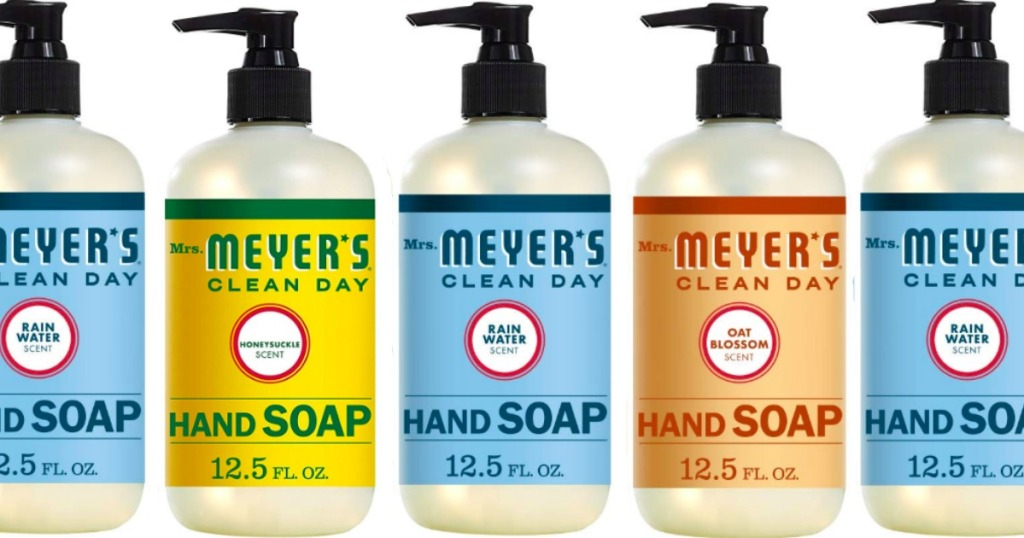 varios varieties of Mrs. Meyer's hand soap next to each other