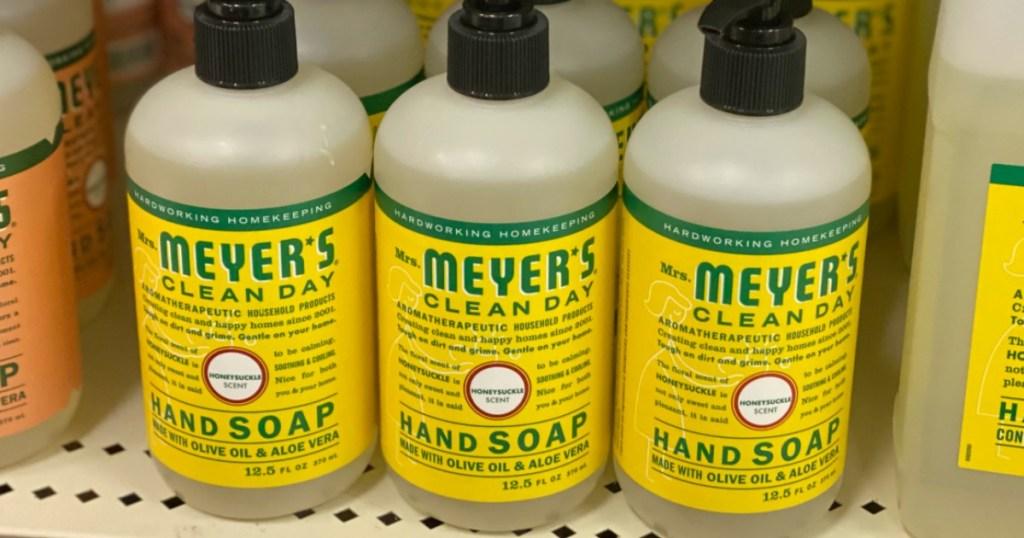 Mrs. Meyer's Hand Soap Lemon on the shelves
