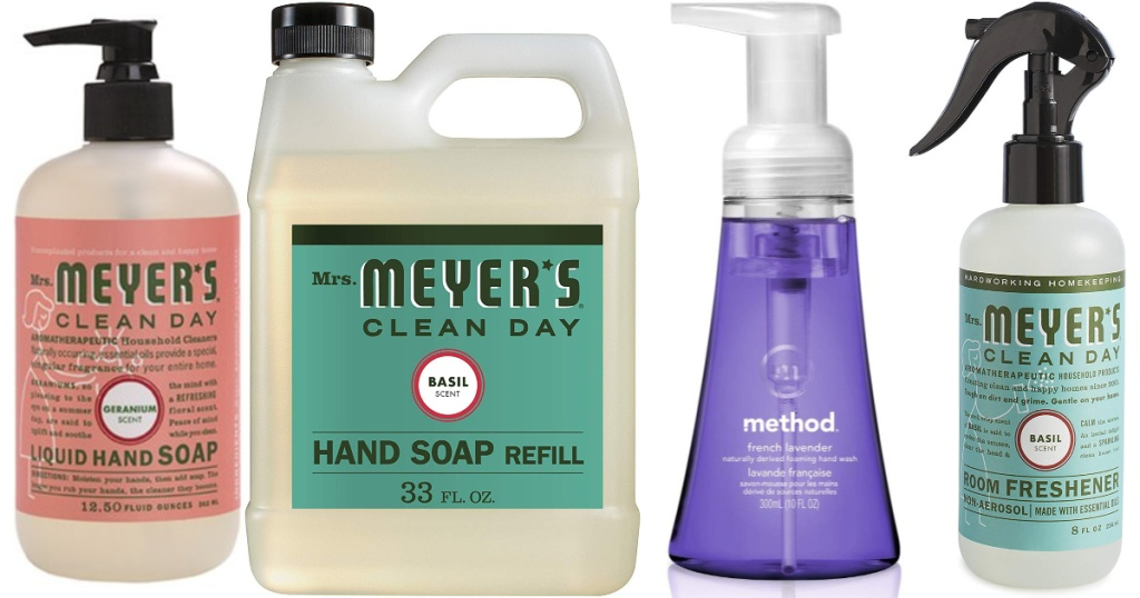 Mrs. mrs Meyer's hand soap, refill, room refreshener and Method products