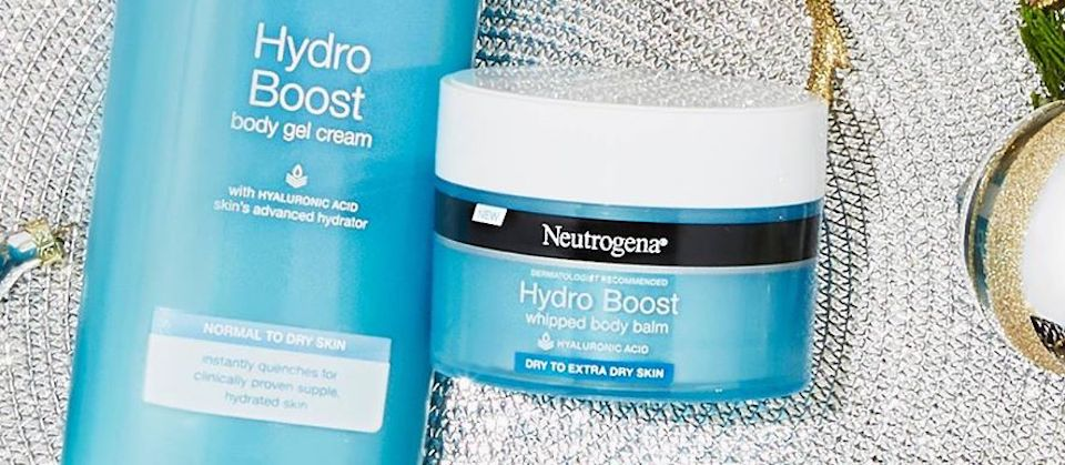 Neutrogena Hydro Boost products laying on silver cloth