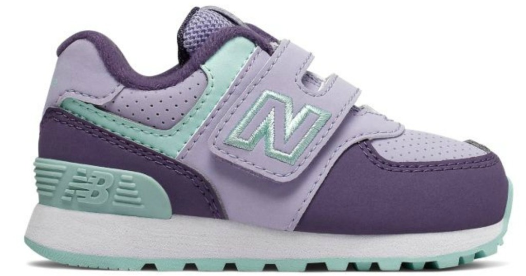 New Balance Kids Hook & Loop Shoes in purple and teal
