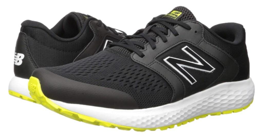Black and yellow running shoe