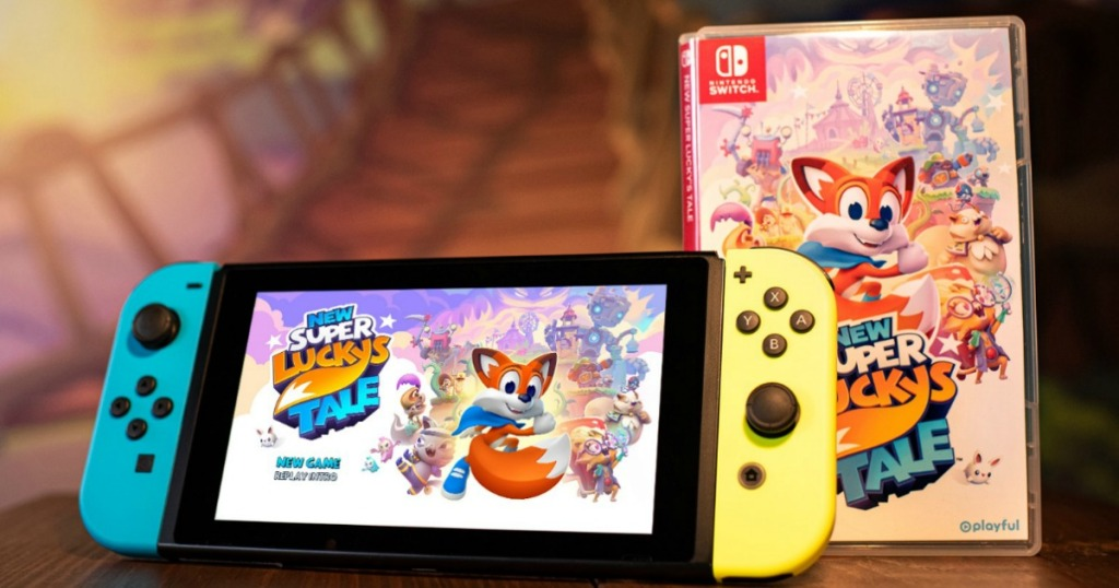 nintendo switch with New Super Luckys Tale Game next to it
