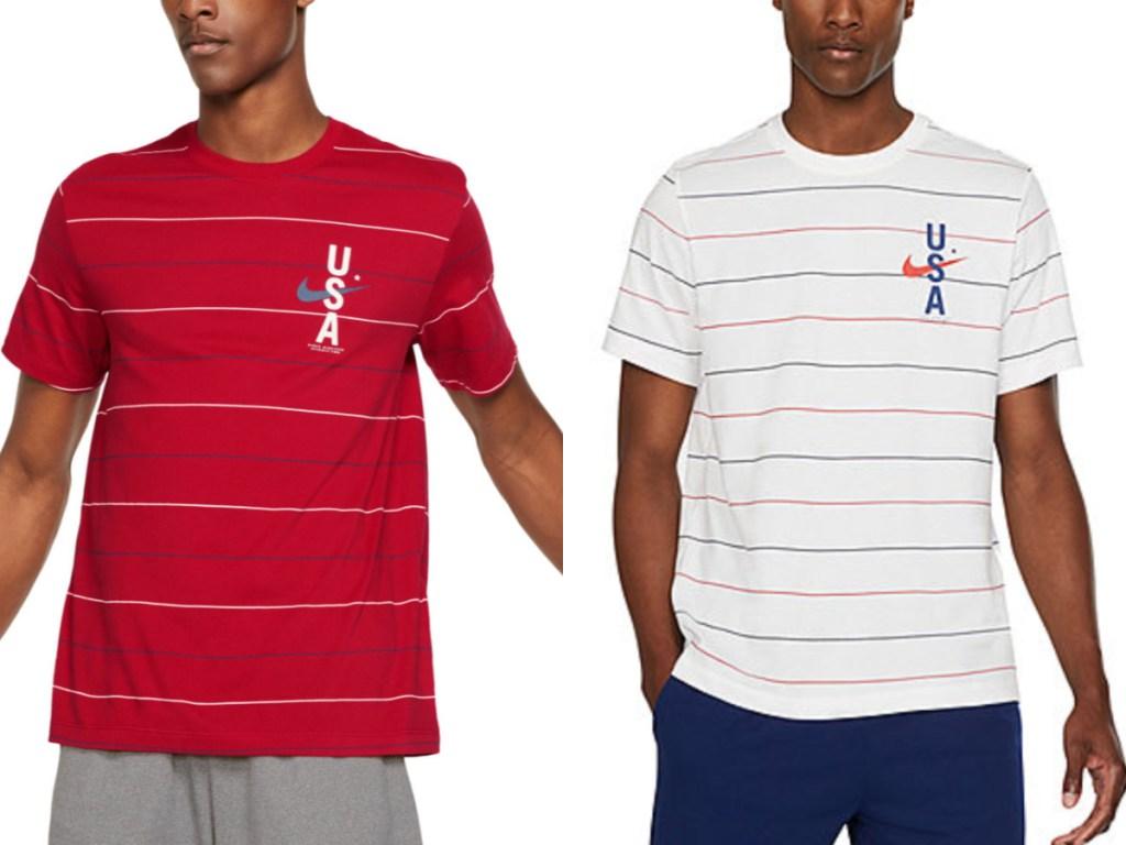 Men wearing Nike striped t-shirts