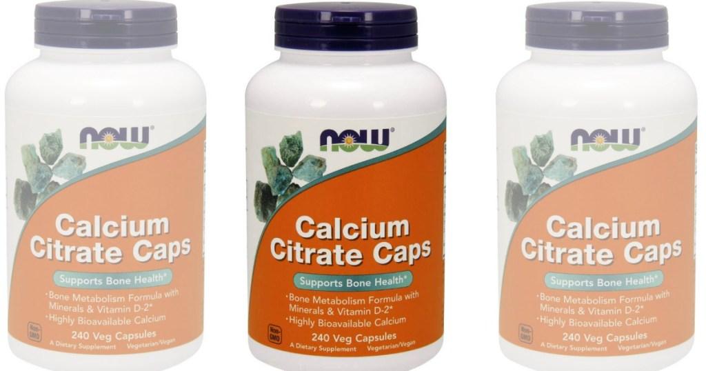 three bottles of Now Foods Calcium Citrate