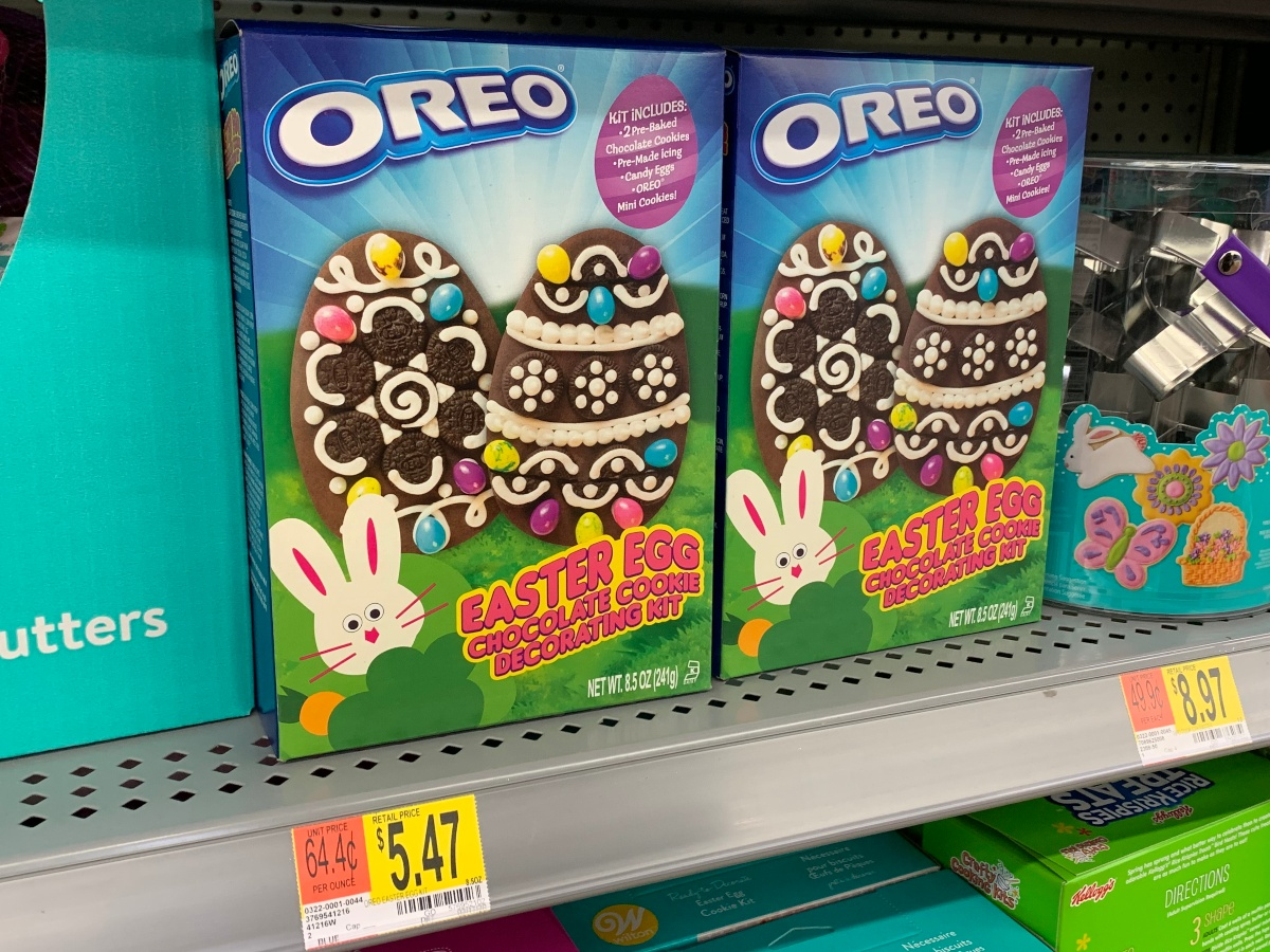 OREO Easter egg decorating kits on shelf at Walmart