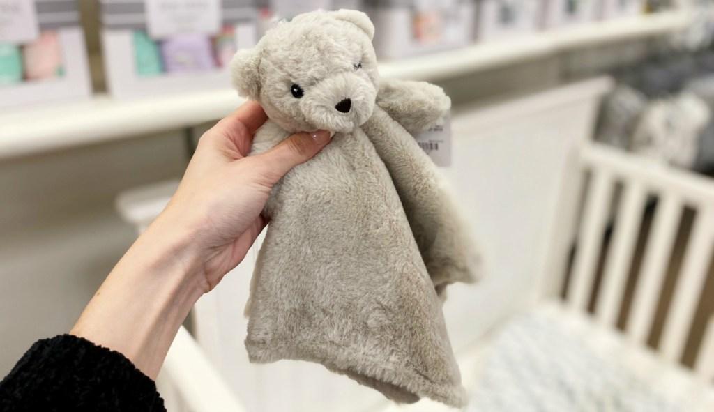 Okie Dokie bear gray blanket