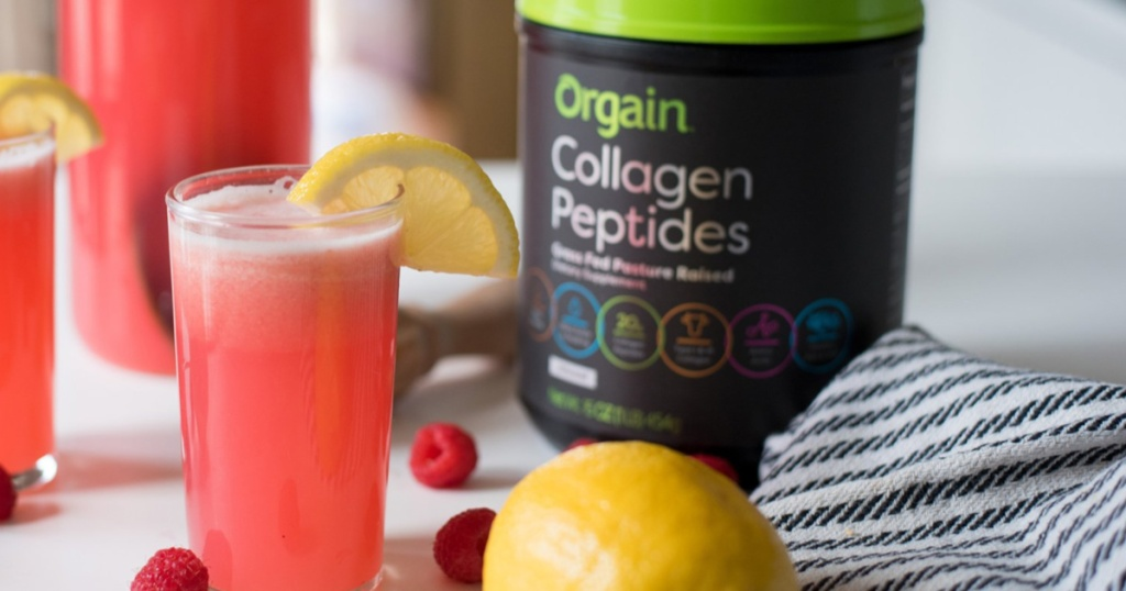 Collagen peptides on table with lemons and glass of juice
