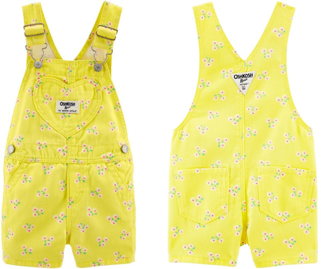 Front and back view of a yellow floral pair of overalls for baby girls