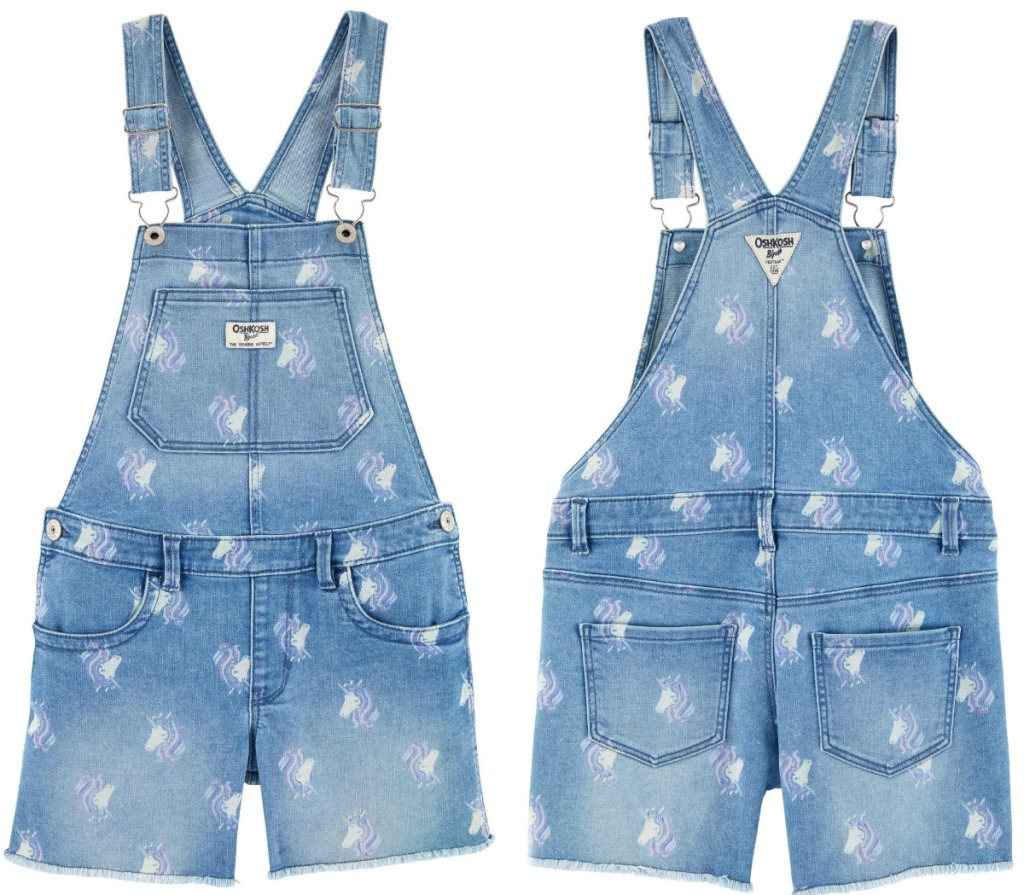 Front and back view of a unicorn themed overall pair for girls