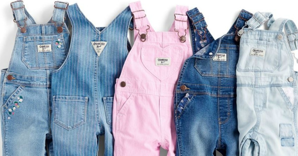 Stack of toddler girls overalls