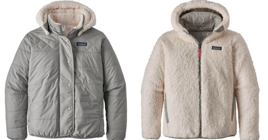 Patagonia Dream Song Jacket with grey side and white side showing