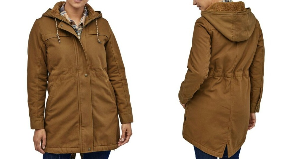 front and back view of a woman wearing a Patagonia jacket