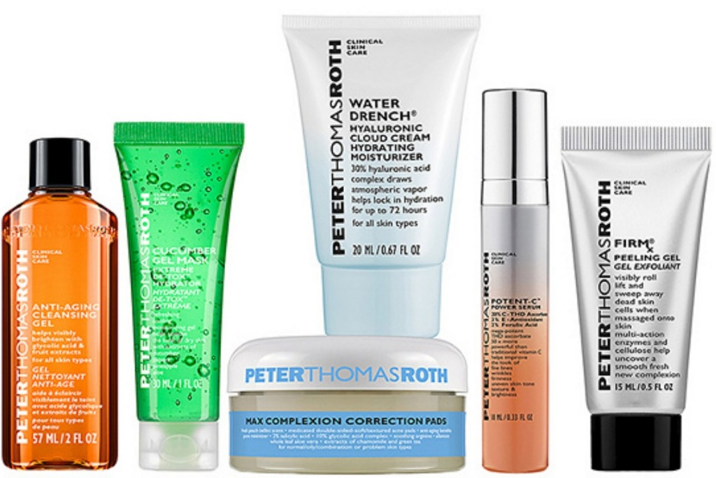 Large selection of skincare products in various sizes and colors