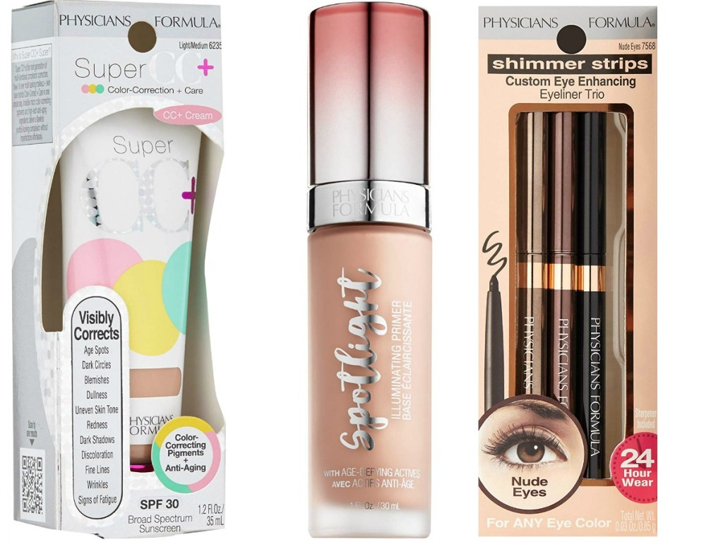 Three different kinds of makeup in packaging on white surface
