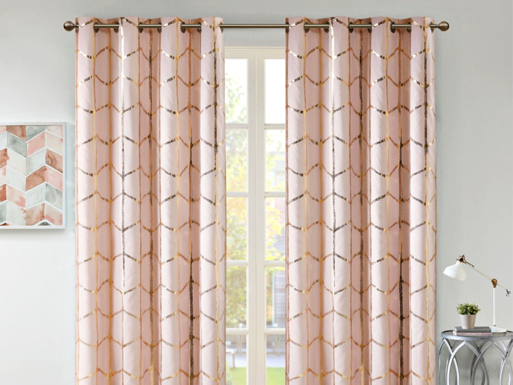 Pink Geometric with gold Curtain Panel on window in livingroom