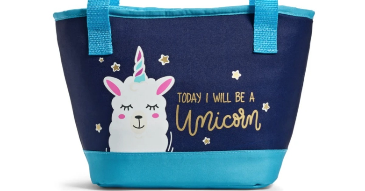 blue lunch tote with unicorn and saying