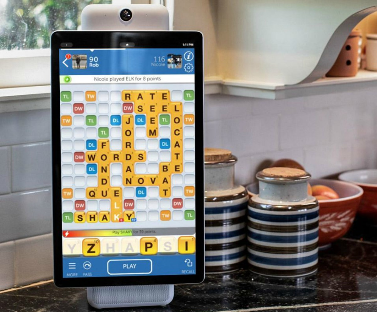 Large Portal by Facebook smart tablet with camera in kitchen with game