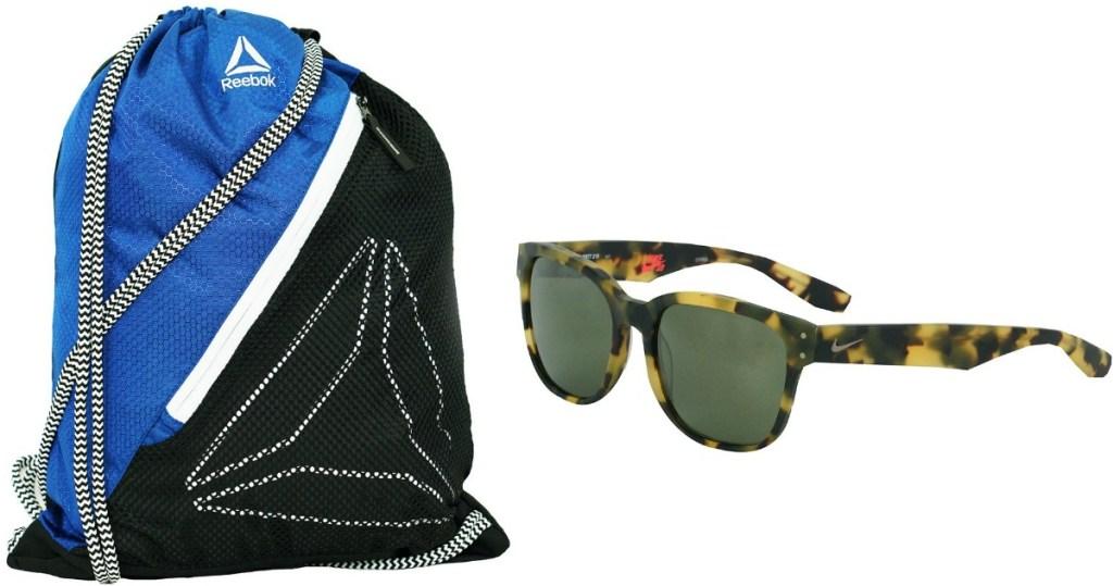 Reebok backpack and Nike sunglasses