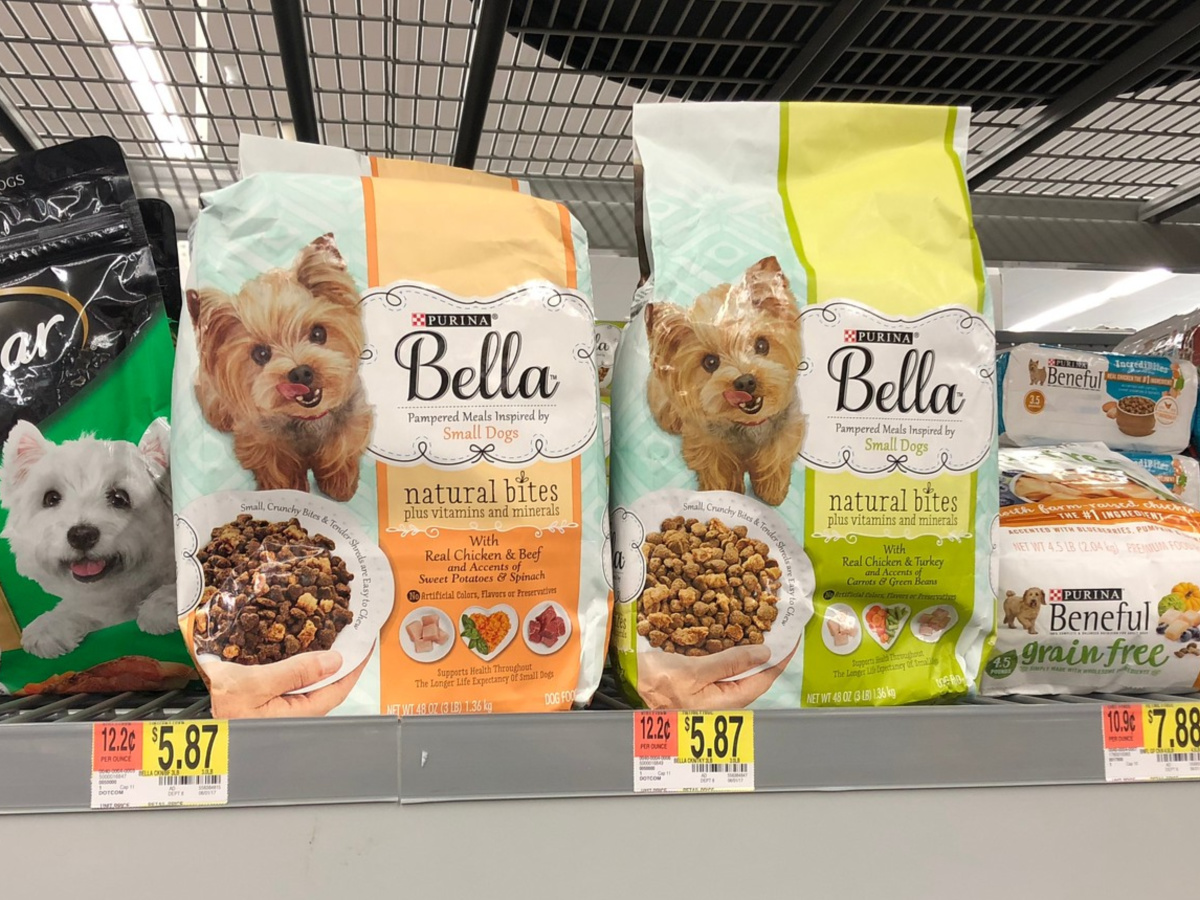 bags of dog food on a store shelf