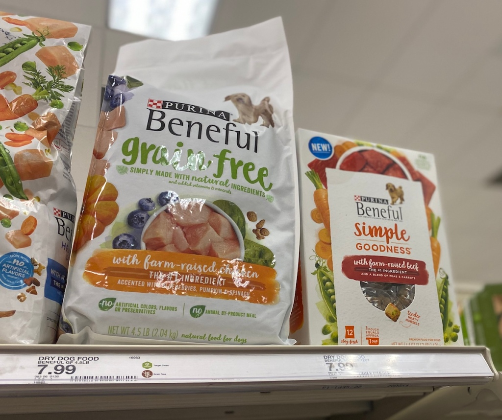 Purina Beneful Grain Free and Simple Goodness dog food on shelf at Target