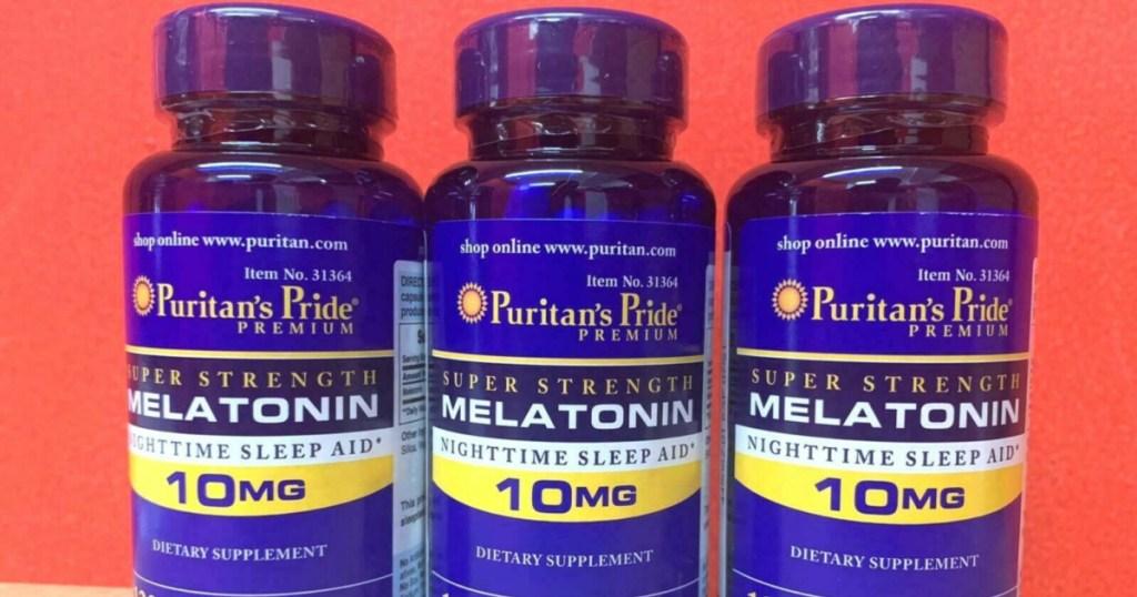 three bottles of melatonin