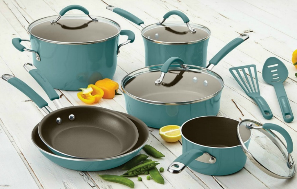 Large set of ceramic cookware in teal shade
