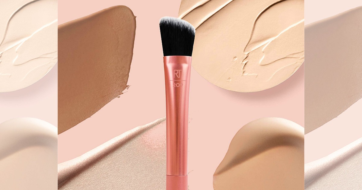 pink Foundation Brush over swatches of foundation