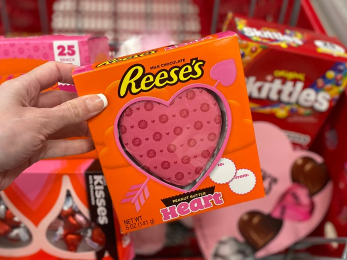 hand holding Valentine's Day Reese's heart