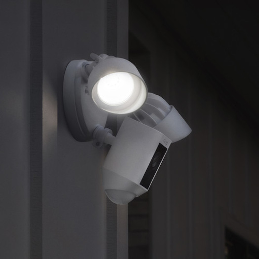 Ring Floodlight Cam on paneling