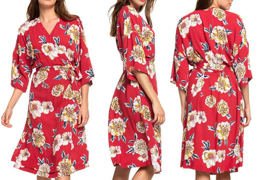 Woman wearing a red floral kimino style dress at three angles