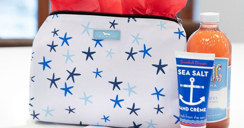 SCOUT Cosmetics Bag with tissue paper in it and hand cream next to it