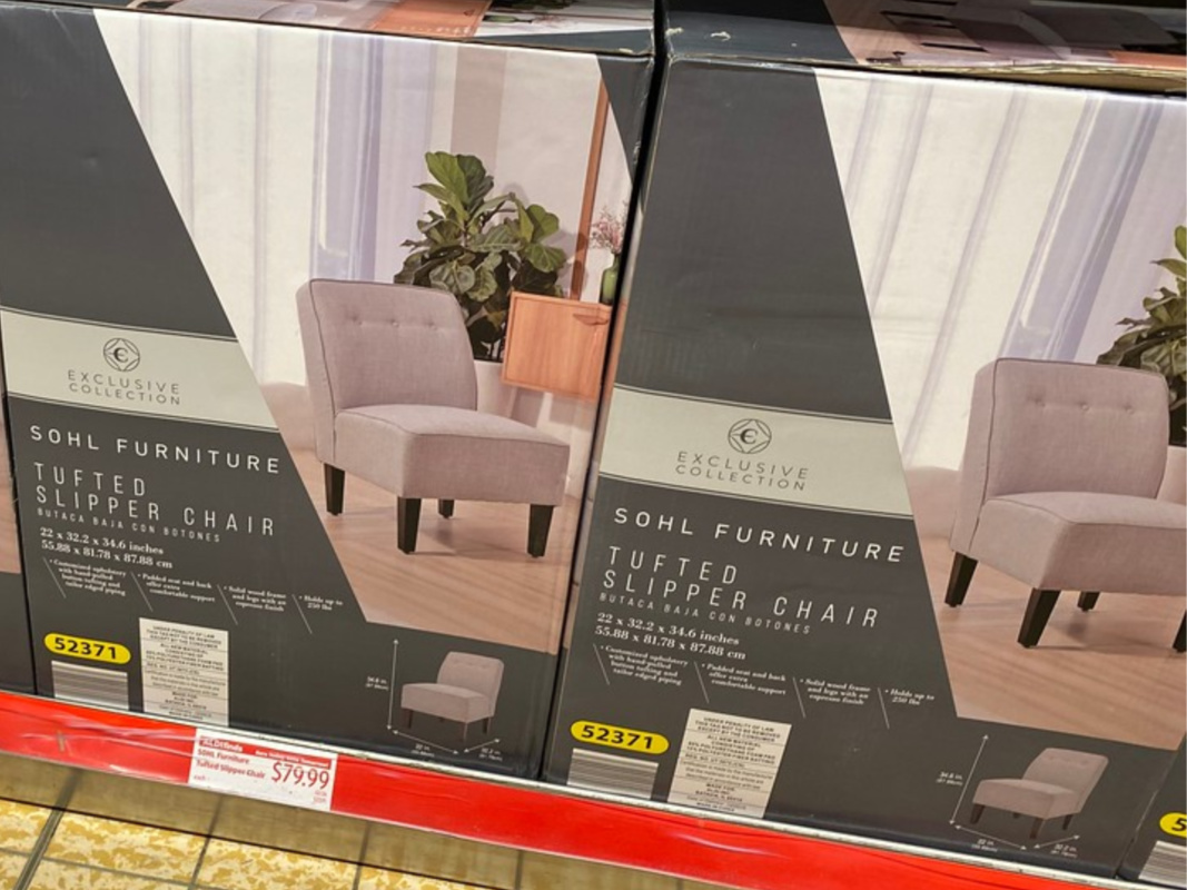 chair in box on store shelf