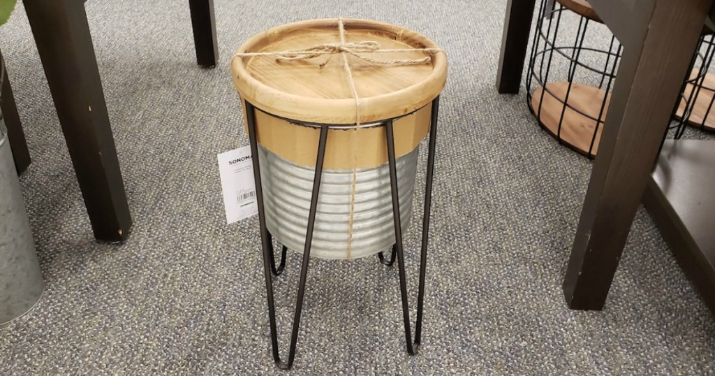 SONOMA Goods for Life Small Galvanized Planter With Wood Stand