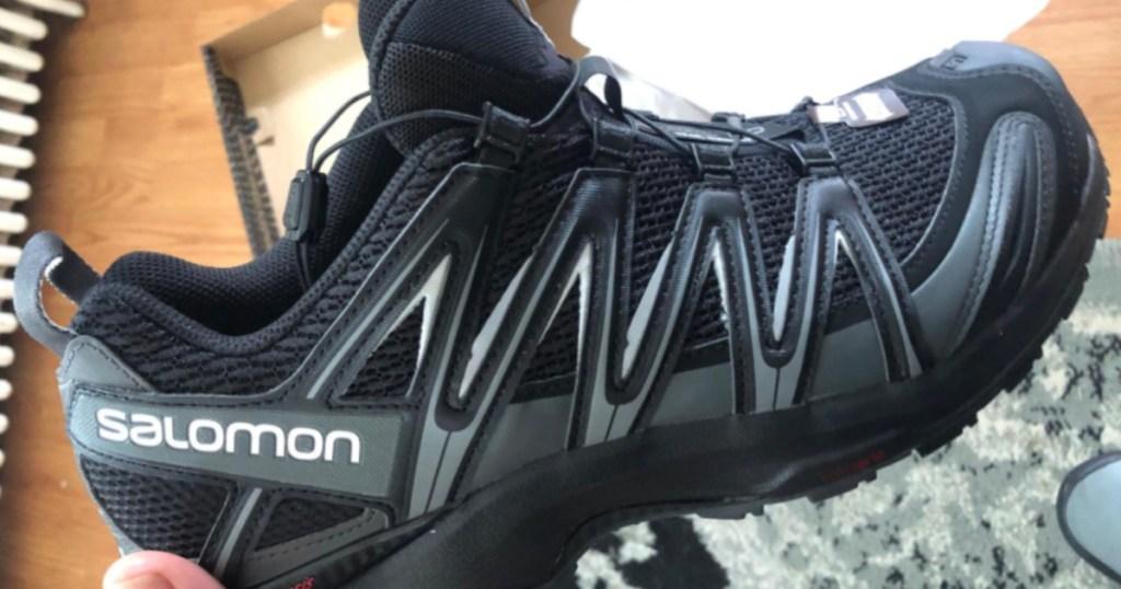 black pair of Salomon XA Men's Pro 3D Trail-Running Shoes