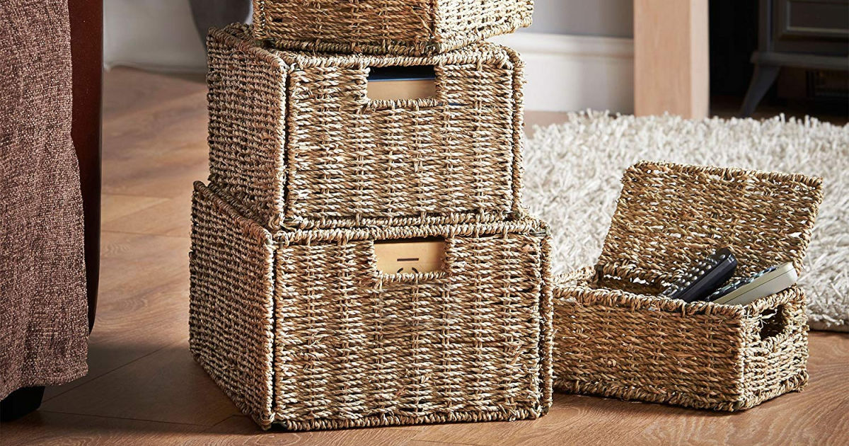 stack of Seagrass Storage Baskets in living room with remotes in basket