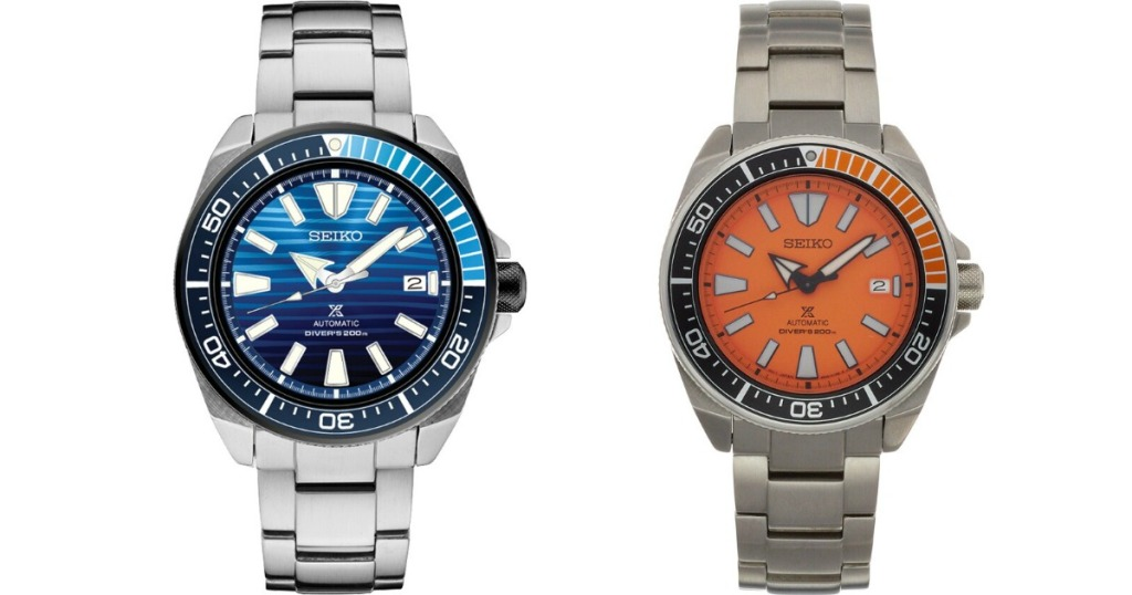 two Seiko watches one with a blue face and one with an orange face